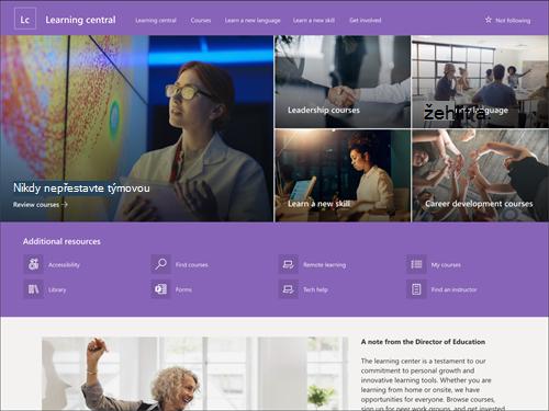 Snímek obrazovky s náhledem stránky výukového centra