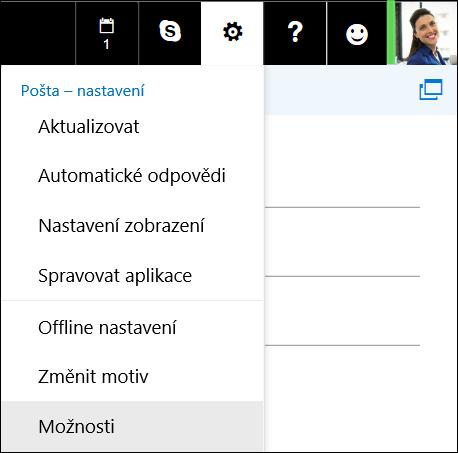 Outlook na webu: Možnosti nastavení