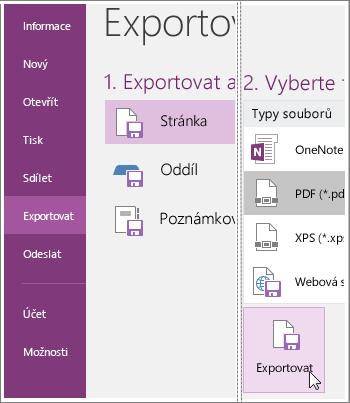 Snímek obrazovky s postupem exportu stránky poznámek v OneNotu 2016.