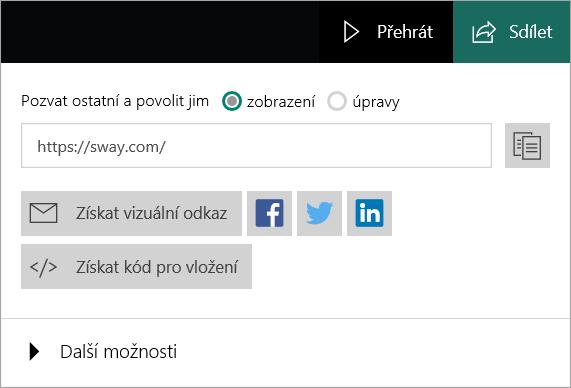 Nabídka swaye z účtu Microsoft