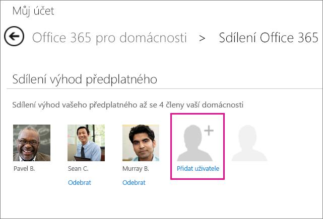 Snímek obrazovky stránky Sdílet Office 365 s vybranou možností Přidat uživatele