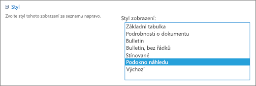 Výběr stylů na stránce pro nastavení zobrazení