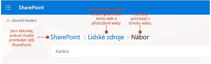 Snímek obrazovky znázorňující, kde výsledky pocházejí z různých míst hledání