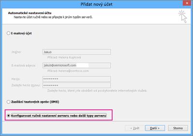 Vyberte Konfigurovat ručně nastavení serveru nebo další typy serveru.