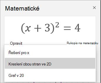 Možnosti grafu v podokně matematika