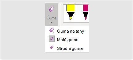 Seznam velikostí gumy: tah, malá a střední