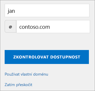 Snímek obrazovky zvolit dialogu přizpůsobených e-mailovou adresu.