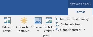 Tlačítko Odebrat pozadí na kartě Nástroje obrázku – Formát na pásu karet v Office 2016