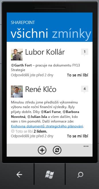 SharePoint Newsfeed – obrazovka všichni