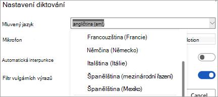 Jazyky, ve kterých můžete diktovat