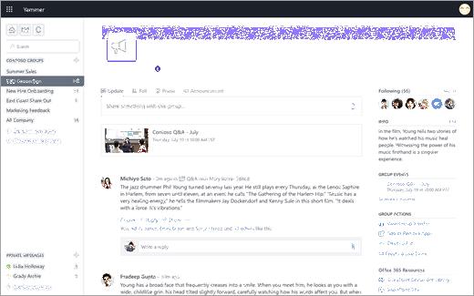 Yammer indikátory živou události při používání služby Yammer na webu