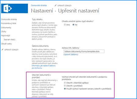 Obrazovka stránky Upřesnit nastavení pro knihovnu dokumentů SharePointu