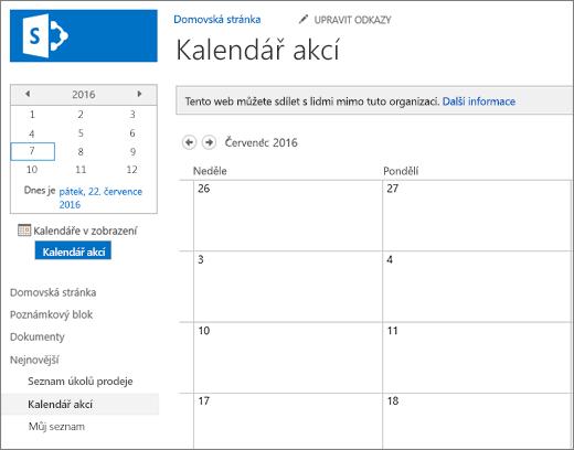Příklad seznamu aplikace kalendář.