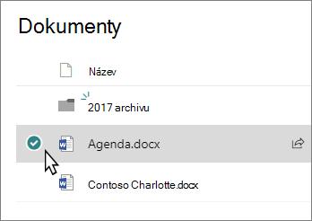 Snímek obrazovky s knihovně s vybranou možností soubor