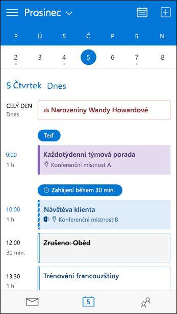 Zobrazení program schůzky