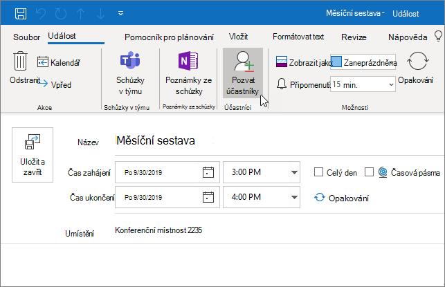 Naplánování události v Outlooku