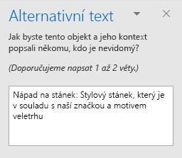 Podokno Alternativní text pro obrazec