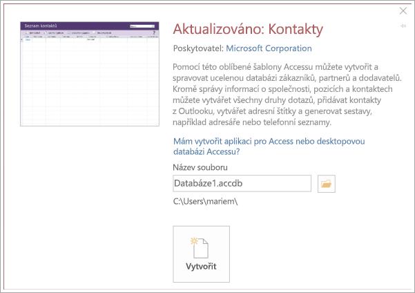 Snímek obrazovky kontakt seznam rozhraní
