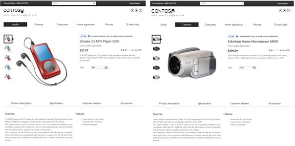 Příklad stránky položky katalogu