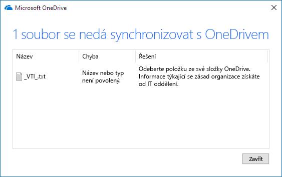 Soubor na OneDrivu nejde synchronizovat