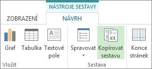 Tlačítko Kopírovat sestavu na kartě Nástroje sestavy – Návrh