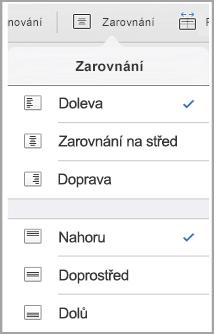 iPad – nabídka Zarovnání textu