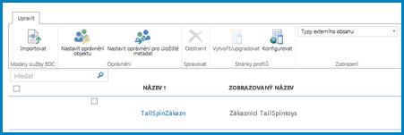 Snímek obrazovky s pásem karet ve standardním zobrazení Typy externího obsahu služby BCS