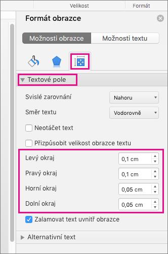 V podokně formát obrazce jsou zvýrazněné možnosti textové pole.