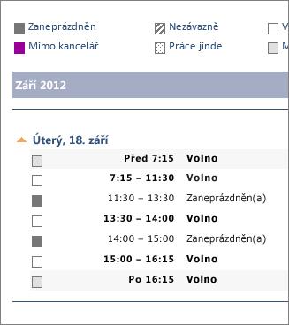 Příklad kalendáře sdíleného přes e‑mail