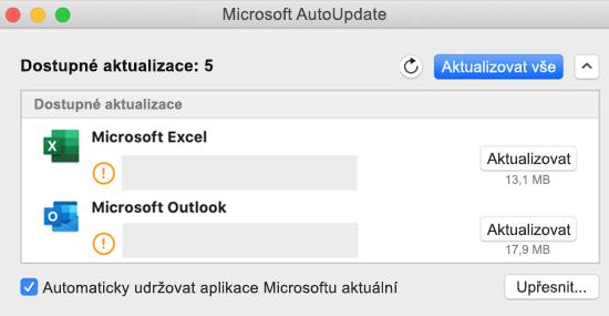 Obrázek řídícího panelu Microsoft AutoUpdate s informacemi o aktualizacích.