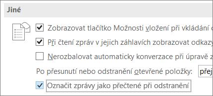 Zaškrtávací políčko Označit zprávy jako přečtené při odstranění v dialogovém okně Možnosti aplikace Outlook