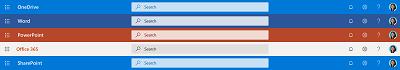 Snímek obrazovky s hledání polem v horní části několika aplikací