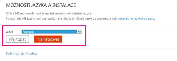 Ukazuje obrazovku Instalovat jazyk ve správě účtu Office 365.