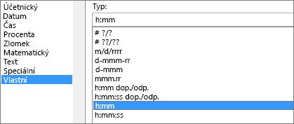 Dialog Formát buněk, vlastní příkaz, typ h:mm