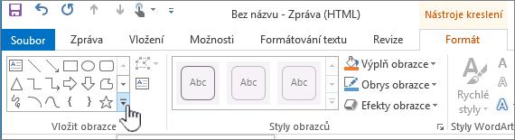 Tlačítko pro vložení obrazce v Outlooku