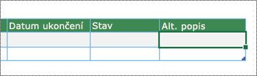 Snímek obrazovky vytvoření diagramu Vizualizéru dat v Excelu