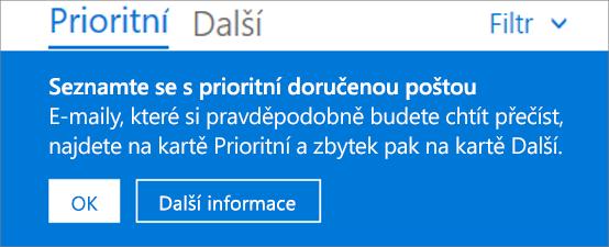 Obrázek toho, jak vypadá Prioritní doručená pošta, když uživatel poprvé otevře Outlook na webu