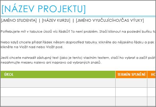 Starší šablona seznamu úkolů projektu s minimální velikostí písma 8,5 bodů