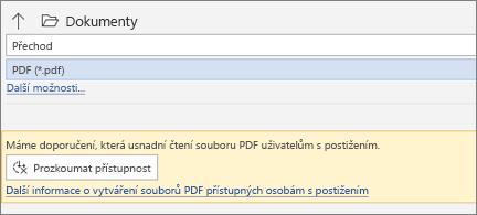 Dialogové okno Uložit jako soubor PDF se žlutým oknem se zprávou s nabídkou, abyste před uložením souboru PDF zkontrolovali jeho přístupnost