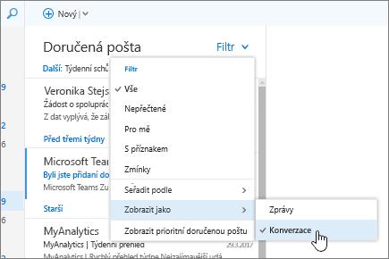 Snímek obrazovky s doručenou poštou a vybranou možností Filtr > Zobrazit jako > Konverzace.