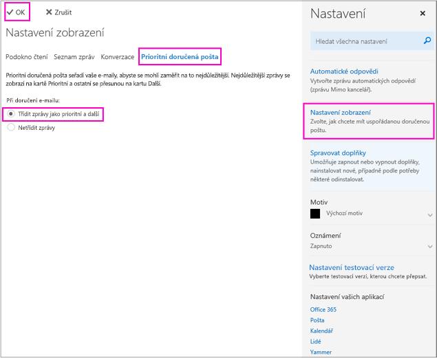 Funkci Prioritní doručená pošta můžete zapnout nebo vypnout na stránce Nastavení zobrazení.