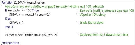 Příklad funkce jazyka VBA s komentáři