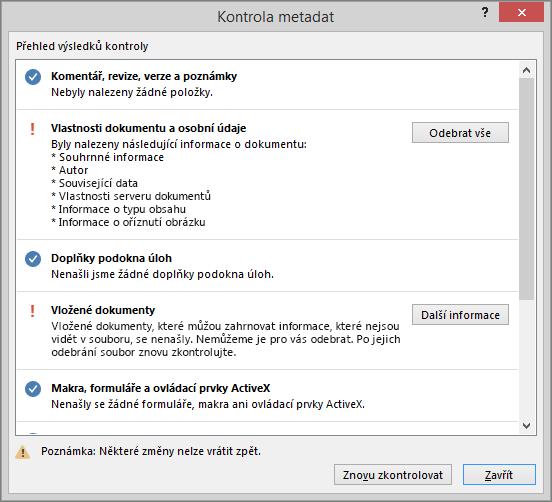 Dialogové okno Kontrola metadat s možností Odebrat vše