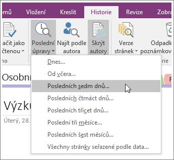 Snímek obrazovky s tlačítkem Poslední úpravy ve OneNotu 2016