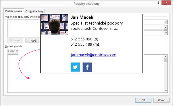 Vložit blok s podpisem vlastní v dialogovém okně textové pole podpisu e-mailu v podpisy a šablony