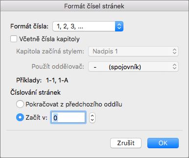 V části Formát čísla stránky vyberte styl číslování a první číslo.