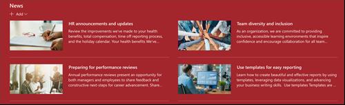 Snímek obrazovky s webovou částí pro zprávy