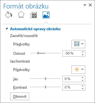 Možnosti automatických oprav obrázku v podokně úloh formát obrázku
