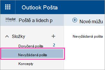 Snímek obrazovky složky Nevyžádaná pošta