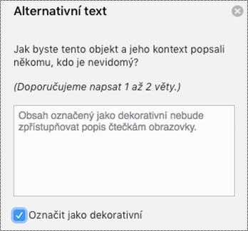 Zaškrtnuté políčko Označit jako dekorativní v podokně Alternativní text ve Wordu pro Mac